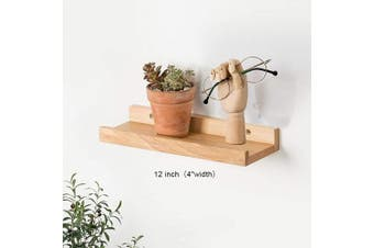 (30cm , Natural) - HOMWOO Picture Ledge Solid Wood Floating Shelf Wall Mounted Floating Wall Shelf for Home, Living Room, Bedroom, Bathroom, Office (Natural,30cm )
