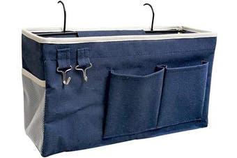 (Navy Blue) - Ozzptuu Bedside Storage Caddy/Bedside Hanging Storage Bag for Headboards Bunk Beds Dorm Rooms Book Phone Magazine Holder (Navy Blue)
