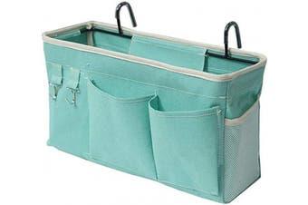 (Green) - Ozzptuu Bedside Storage Caddy/Bedside Hanging Storage Bag for Headboards Bunk Beds Dorm Rooms Book Phone Magazine Holder (Green)