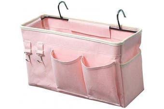 (Light Pink) - Ozzptuu Bedside Storage Caddy/Bedside Hanging Storage Bag for Headboards Bunk Beds Dorm Rooms Book Phone Magazine Holder (Light Pink)