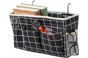 (Black Grid) - Ozzptuu Bedside Storage Caddy/Bedside Hanging Storage Bag for Headboards Bunk Beds Dorm Rooms Book Phone Magazine Holder (Black Grid)