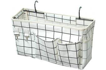 (White Grid) - Ozzptuu Bedside Storage Caddy/Bedside Hanging Storage Bag for Headboards Bunk Beds Dorm Rooms Book Phone Magazine Holder (White Grid)