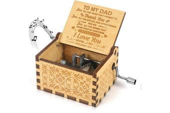 (Son to Dad 1) - to My dad- You are My Sunshine Music Box Gift Wood Laser Engraved Vintage Musical Box for Dad from Son Best Gift for Father's Day/Birthday/Christmas/Thanksgiving Day