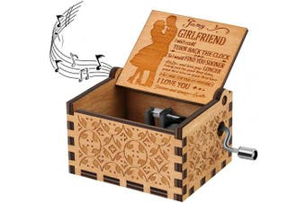 (To My Girlfriend 1) - BOOB U R My Sunshine Theme to My Girlfriend Music Box Hand Crank Vintage Wood Carved Musical Box Crafts Gifts for Valentine's Day/Birthday/Annivesary to Girlfriend/Wife