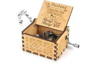 (To My Husband 1) - BOOB to My Husband Music Box You are My Sunshine Theme Laser Engraved Wood Musical Box Hand Crank Antique Vintage Musical Box Gifts for Husband from Wife on Valentines Day Birthday