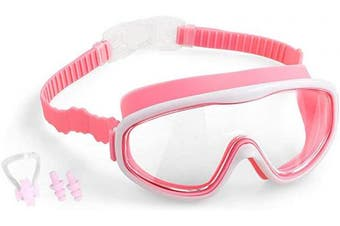(02.Blue+Red) - COOLOO Kids Swimming Goggles, Kids Swim Goggles Junior Children Girls Boys Early Teens Age 3-15, with Anti-Fog, Waterproof, Protection Lenses, Crystal Clear Wide Vision