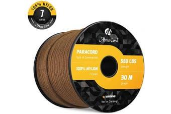 (Brown, 50 Metre) - Abma Cord 550 Paracord 7 Inner Strands 100% Nylon Parachute Cord - 250kg Breaking Strength