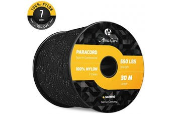 (Reflective Black, 50 Metre) - Abma Cord 550 Paracord 7 Inner Strands 100% Nylon Parachute Cord - 250kg Breaking Strength