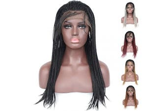 (46cm , Micro Braided,#1B) - BLUPLE Micro Braided 1b Synthetic Lace Front Wigs Fully Hand Tied Heat Resistant Hair Braiding Styles Fibre Hand Braided Wig for Black Women (46cm , Micro Braided,#1B)