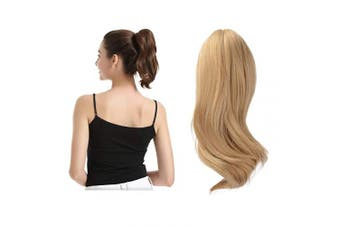 (25cm , 27/613# Strawberry Blonde & Bleach Blonde) - BARSDAR 25cm Ponytail Hair Extensions Hair Piece Clip Claw in Ponytail Extensions Short Curly Synthetic for Black Women (27/613 Strawberry Blonde mix Bleach Blonde Evenly)