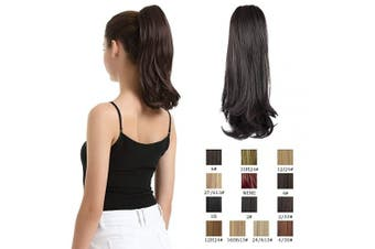 (36cm , 4# Dark Brown) - BARSDAR 36cm Hair Ponytail Extensions Natural Curly Claw Ponytail Clip in Hair Extensions Drawstring Heat Resistance Synthetic Hair Piece Clip on Ponytails for Girls Women (Dark Brown)