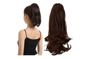 (33cm , Darkest Brown & Dark Auburn Mixed) - BARSDAR 33cm Hair Piece Long Curly Ponytail Jaw Extension Drawstring Natural Hair Extension Synthetic Clip In Claw Hairpiece For Women (Darkest Brown & Dark Auburn Mixed)