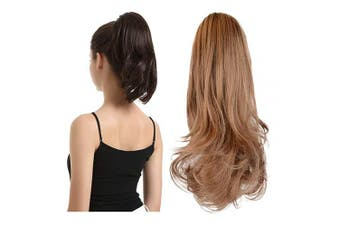 (33cm , Light Golden Brown & Pale Golden Blonde) - BARSDAR 33cm Hair Piece Long Curly Ponytail Jaw Extension Drawstring Natural Hair Extension Synthetic Clip In Claw Hairpiece For Women(Light Golden Brown & Pale Golden Blonde)