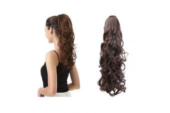 (48cm , 2/33# Darkest Brown mix Dark Auburn Evenly) - BARSDAR 48cm Clip in Ponytail Hair Extensions Short Curly Synthetic Hair Piece for Women (2/33 Darkest Brown & Dark Auburn Mixed)
