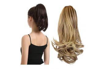 (33cm , Blonde & Medium Brown) - BARSDAR 33cm Hair Piece Long Curly Ponytail Jaw Extension Drawstring Natural Hair Extension Synthetic Clip In Claw Hairpiece For Women (Blonde & Medium Brown)