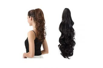 (48cm , 2# Natural Black) - BARSDAR 48cm Clip in Ponytail Hair Extensions Short Curly Synthetic Hair Piece for Women (2# Natural Black)