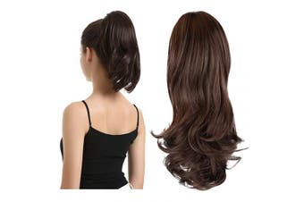 (33cm , Medium Brown) - BARSDAR 33cm Hair Piece Long Curly Ponytail Jaw Extension Drawstring Natural Hair Extension Synthetic Clip In Claw Hairpiece For Women (Medium Brown)