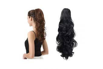 (48cm , 1B Natural Black) - BARSDAR 48cm Clip in Ponytail Hair Extensions Short Curly Synthetic Hair Piece for Women (1B_off Black)
