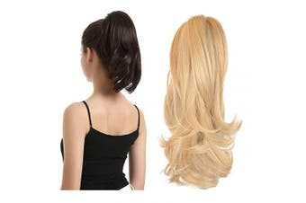 (33cm , Strawberry Blonde & Bleach Blonde) - BARSDAR 33cm Hair Piece Long Curly Ponytail Jaw Extension Drawstring Natural Hair Extension Synthetic Clip In Claw Hairpiece For Women (Strawberry Blonde & Bleach Blonde)