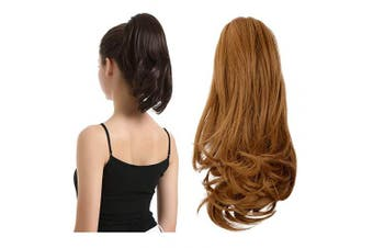 (33cm , Strawberry Blonde) - BARSDAR 33cm Hair Piece Long Curly Ponytail Jaw Extension Drawstring Natural Hair Extension Synthetic Clip In Claw Hairpiece For Women (Strawberry Blonde)