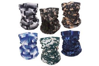 (T3 6pcs) - Headwear Head Wrap Sport Headband Sweatband Mask Neck Gaiter for Cycling, Fishing, Running, Outdoor Head Scarf UV Resistence Elastic Seamless 12 in 1 Magic Scarf Multifunctional hair band 6pcs