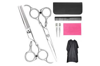 (Hair Cutting Scissors) - Hair Cutting Scissors Set- 8 Pcs Professional hair scissors with Comb, Salon Cape, Hair Clip, Flat Shears, Teeth Shear for Hairdressing, Thinning