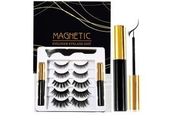 (5 pairs) - Coolke Magnetic Eyelashes with Eyeliner-2 Tubes of Magnetic Eyeliner & 5 Pairs of Magnetic Eyelashes,Magnetic Eyelashes Kit