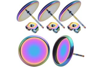20 Pieces Cabochon Earring Settings with 20 Pices Earring Safety Backs, Colourful Stainless Steel Stud Earring Cabochon Setting Post Cup Fit for 12mm