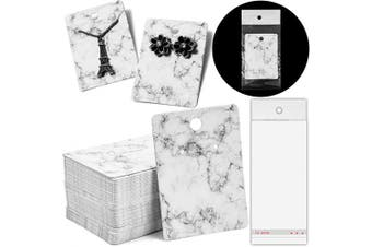 Jewellery Display Cards in Marble Design with Self-Seal Bags (5.1cm x 7.1cm , 200 Pcs)