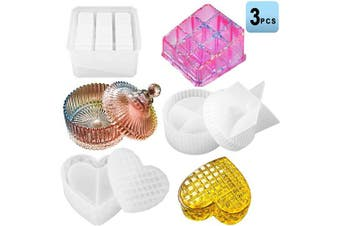 Box Resin Moulds Silicone Jewellery Box Moulds with 9-Slot Heart Shape Epoxy Resin Moulds Round Trinket Box Gift Box Moulds