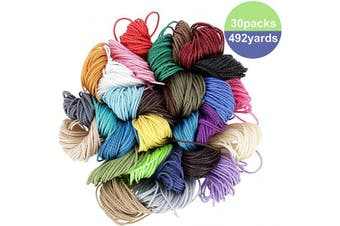 492 Yards Waxed Polyester Cord- 30 Colours 1mm Wax Coated Thread Waterproof DIY Crafting Macrame Bracelet String for Handmade Necklaces Jewellery Braided String