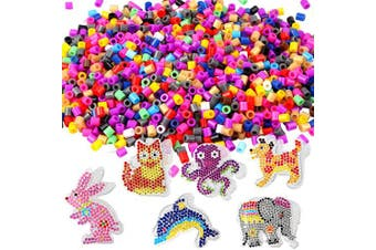 5mm Fuse Beads Pegboards Kit - 6Pcs Animal Shape Bead Boards Clear Plastic Templates, About 1150Pcs Multicolor Fuse Beads, 6Pcs Ironing Papers, 2Pcs Tweezers for Kids DIY Craft Beads