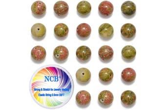 (8mm, Unakite) - NCB 100pcs 8mm Natural Stone Beads Round Beads Gemstone Beads Loose Beads for Jewellery Making Wholesale (Unakite, 8mm 100pcs)