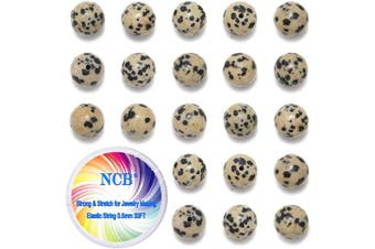 (8mm, Dalmation Spot Jasper) - NCB 100pcs Natural Stone Beads 8mm Round Genuine Real Stone Beading Loose Gemstone DIY Charm Smooth Beads for Bracelet Necklace Jewellery Making (Dalmation Spot Jasper, 8mm 100pcs)