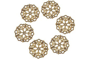 (100pcs, Antique Golden,Flower) - Beadthoven 100-Piece 29mm/1.14''Inch Tibetan Style Filigree Flower Link Antique Colden Joiners Links Flat Round Charms Base Setting Connector for Jewellery Making Finding Supplies Lead Free & Nickel Fre