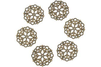 (100pcs, Antique Bronze,Flower) - Beadthoven 100-Piece 29mm/1.14''Inch Tibetan Style Filigree Flower Link Antique Bronze Joiners Links Flat Round Charms Base Setting Connector for Jewellery Making Finding Supplies Lead Free & Nickel Fre