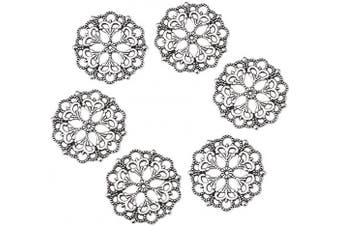 (100pcs, Antique Silver,Flower) - Beadthoven 100-Piece 29mm/1.14''Inch Tibetan Style Filigree Flower Link Antique Silver Joiners Links Flat Round Charms Base Setting Connector for Jewellery Making Finding Supplies Lead Free & Nickel Fre