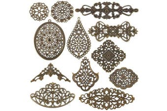 (120pcs, Mixed Style) - Beadthoven 120Pcs Tibetan Style Mixed Filigree Flower Link Antique Bronze Joiners Links Flat Round Charms Base Setting Connector for Jewellery Making Finding Supplies