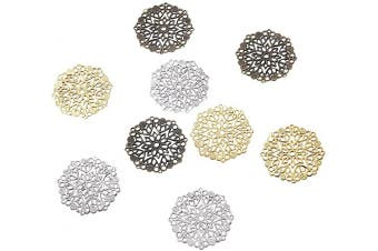 (60pcs, Mixed,Flower) - Beadthoven 60-Piece 35.5mm/1.4''Inch Tibetan Style Filigree Flower Link Mixed Colour Joiners Links Flat Round Charms Base Setting Connector for Jewellery Making Finding Supplies