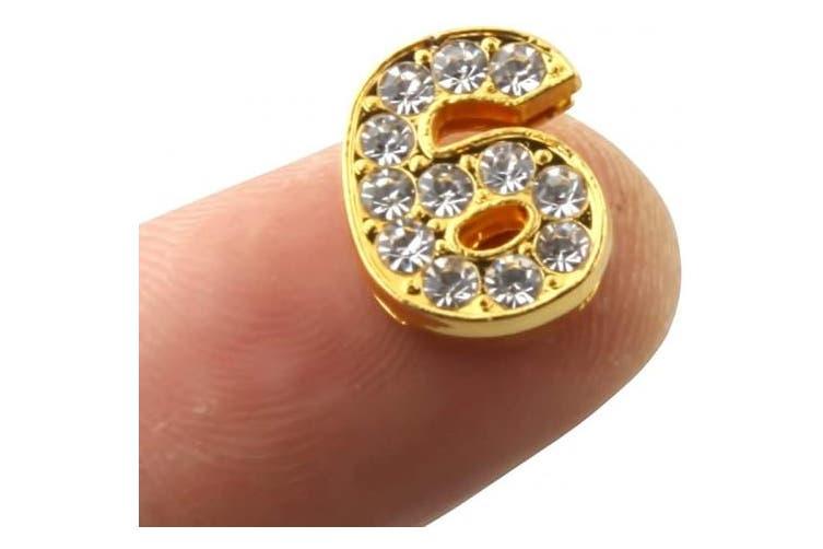 (Gold) - ALLinONE 10mm 0-9 Digital Number 10pcs Rhinestone Alphabet Letter Slide Charms (Gold)