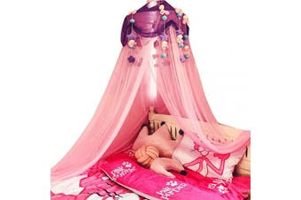 (Purple) - Bed Canopy for Girls, Crib Canopy with Plush Toy Decoration Princess Mosquito Net for Girls Toddlers and Adults Or Over Baby Crib Large Size