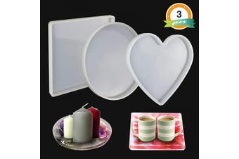 LET'S RESIN Large Resin Moulds, 3 Pcs Large Resin Tray Moulds Including Round, Square, Heart Shape, Resin Silicone Moulds for Casting Epoxy Resin etc