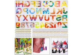(Resin Alphabet Molds) - BBita DIY Resin Keychain Mould, Backward Number Alphabet Letter Silicone Mould for Epoxy Resin Casting DIY Sugar Cake Craft Jewellery Making Set Kit with Jump Rings, Screw Eye Pins