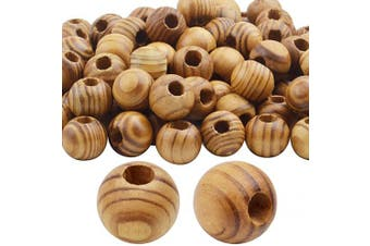 (18) - Natural Wooden Beads, 100 Pieces 18mm Diameter Round Loose Spacer Beads Large Hole (6.5mm) Wooden Craft Beads with Beautiful Grain for DIY Handmade Decorations