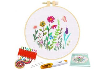 (White) - Caydo Full Range of Embroidery Starter Kit with Pattern and Instructions, Cross Stitch Kit Include 1 Embroidery Clothes with Floral Pattern, 1 Plastic Embroidery Hoops, Colour Threads and Tools