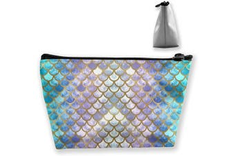 (Mermaid Scales Marble) - Makeup Bag Cosmetic Lipstick Cute Pouch Toiletry Travel bag and Brush Organiser Purse Handbag for Women, Mermaid Scales Marble