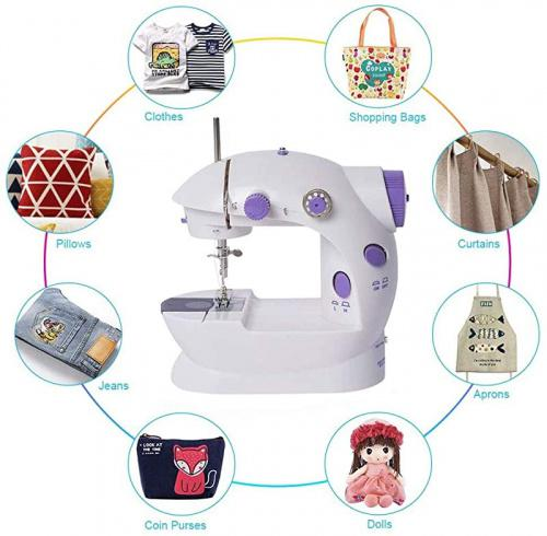 Upgraded 2-Speed 2-Thread Portable Sewing Machine with Foot Pedal for Household Travel Beginner 33Pcs Kit and Table KUQIURW Sewing Machine