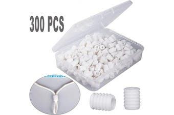 (300, White) - Silicone Elastic Cord Locks Rope Stoppers Spring Toggles Drawstring Adujster Non Slip (White, 300pcs)
