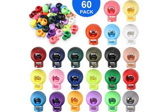 (60) - Spring Plastic Round Cord Locks Single Hole End Spring Toggle Stopper Slider Mixed Colour Round Ball Shape Luggage Lanyard Stopper Sliding Fastener Buttons for Drawstring Backpack Supplies (60)