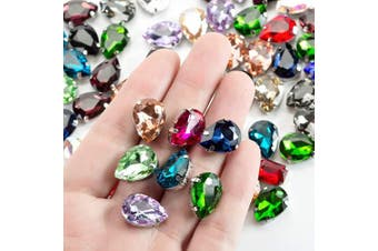 (14 * 10 MM, MIXED COLOR) - 10x14 Teardrop Sew on Rhinestone by Choupee 48 PCS -Assorted Colour (Randomly Mix)